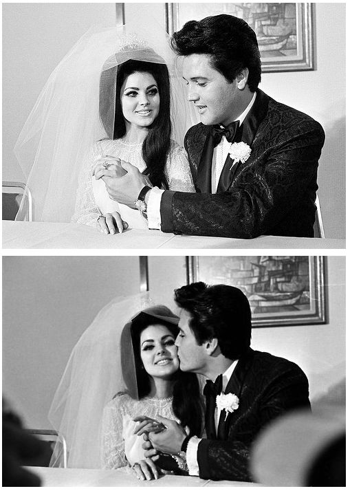 The way she looks at him. Elvis and Priscilla at their wedding day, May 1, 1967