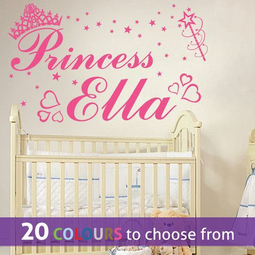 PERSONALISED PRINCESS CUSTOM NAME wall sticker decal for little girl nursery bedroom