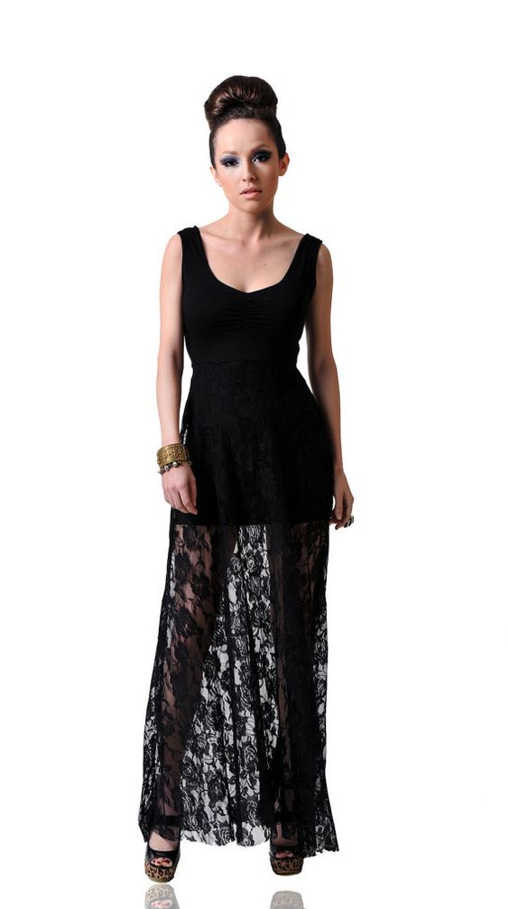 Long Lace Maxi Tank Top Dress by DominiqueAnsari on Etsy, $119.98