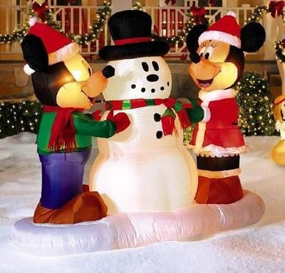 mickey mouse minnie w snowman 5 ft gemmy outdoor. Black Bedroom Furniture Sets. Home Design Ideas