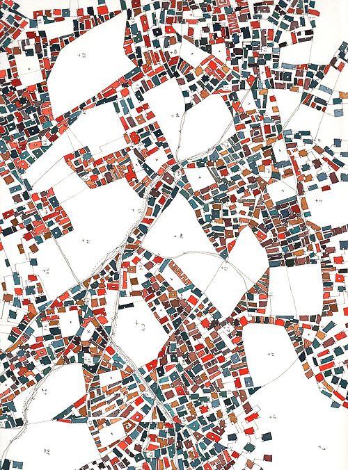 FABRICE CLAPIES ~ Vides polygonaux et urbanisme de masse; 21x 29cm (extract of 50 x 50cm drawing watercolor):