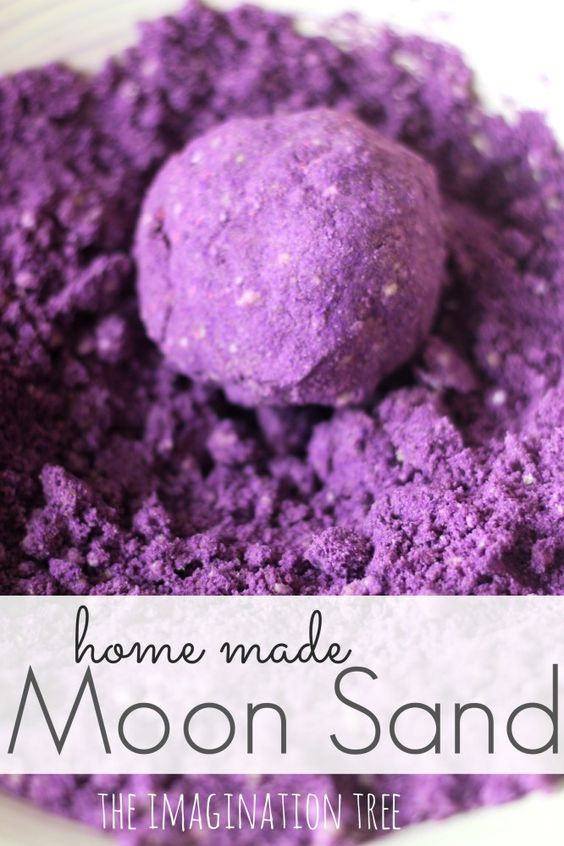 theimaginationtree: Make some home made moon sand with this easy recipe for a wonderful sensory play experience for kids! Using just 3 simple ingredients, it can be formed and moulded, used to make impressions and cut out shapes and makes the best sand castles ever! Even better is that it's gluten free so all can play.