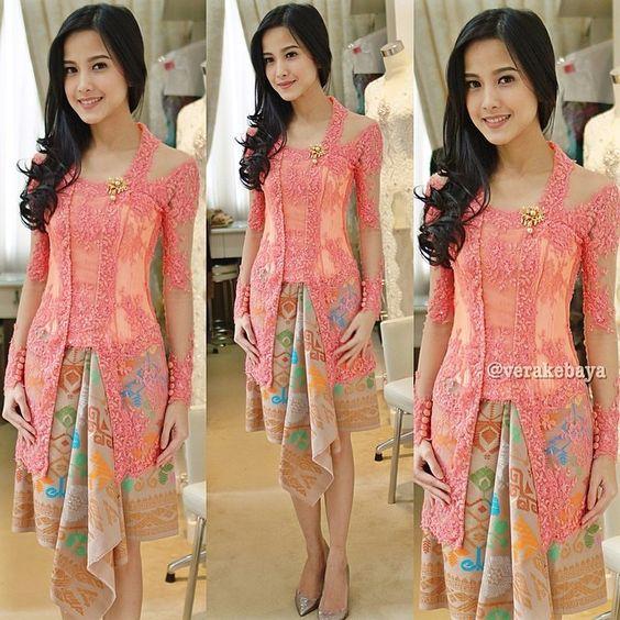 3 4 sleeve lace long dress kebaya