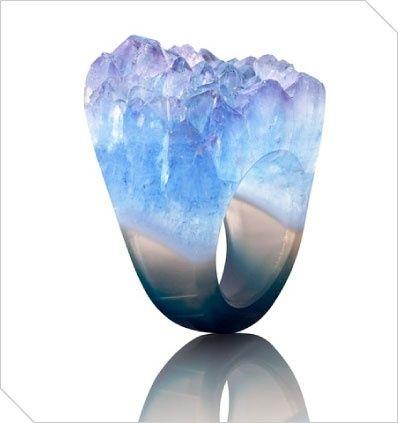 Ring | Joya Designs. Raw blue agate stone