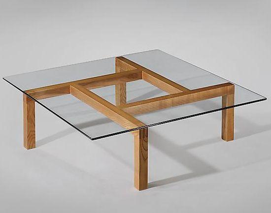 Pierre Guariche Unique Ash and Glass Coffee Table for His