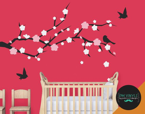 Cherry Blossom Vinyl Wall Decal with set of 3 Birds  by PMVinyls