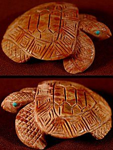 Vivella Cheama | Picasso Marble  |  Sea Turtle  | Price: $125. +  domestic shipping | Texas sales tax applies to Texas Residents! | CLICK  IMAGE for more views & information. | Authentic Zuni fetishes direct from Zuni Pueblo to YOU from Zunispirits.com!: