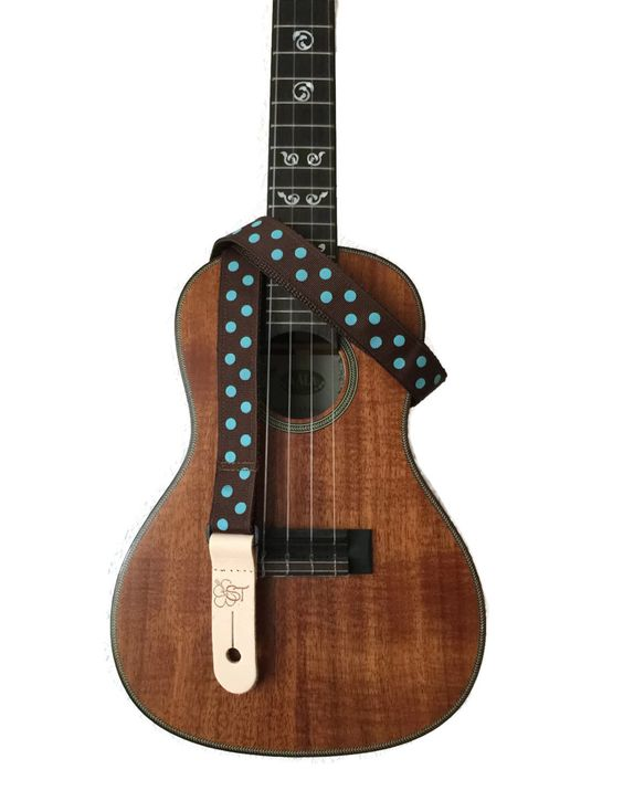 "Turquoise Dots on Brown Ukulele Strap - 1 "" wide"