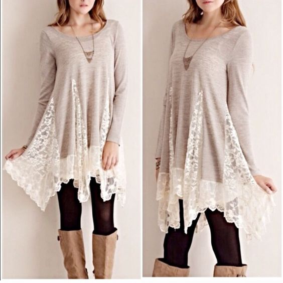 """⭐️Lace Tunic⭐️ Lace Tunic in Light Grey with white lace. Super flattering silhouette. Perfect with leggings and boots.  Bust: 33"""" Length: 29"""" Brand is not Free People - done for listing purposes. Offers welcome✌️ Free People Tops Tunics"""