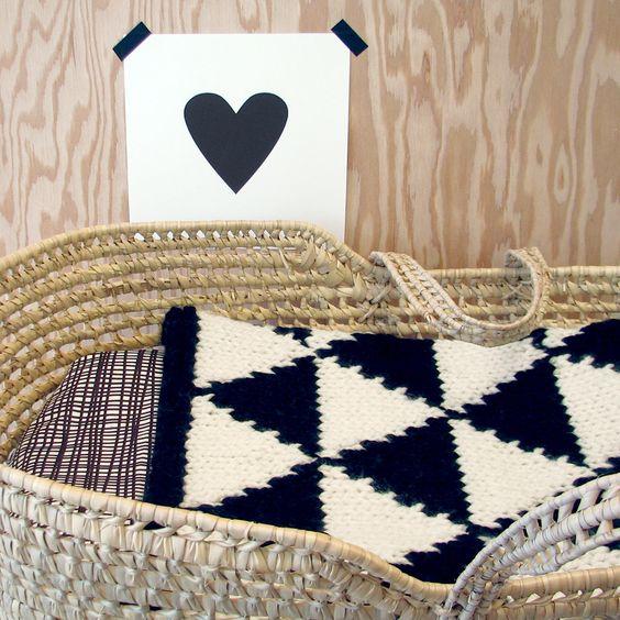 Knitting Pattern For Bassinet Blanket : Hand Knitted Black/Cream Modern Triangle Patterned Baby ...