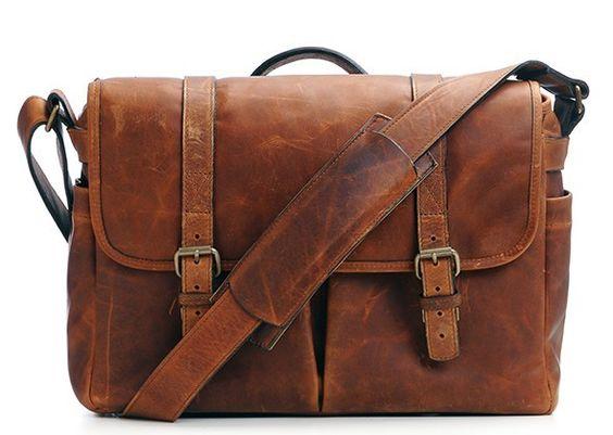 The Leather Brixton Camera and Laptop Messenger Bag $429