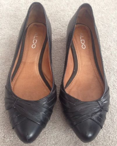 Womens Aldo Shoes 7 Black Pointed Kitten Heel Ballet Flat 37 US 7