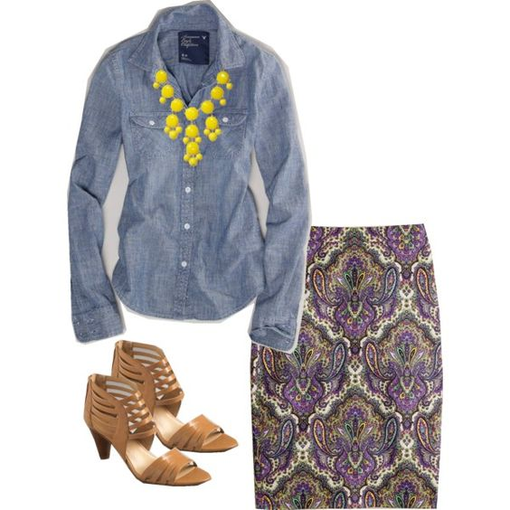 Chambray, pencil skirt, bubble necklace and heels for work - great Fall transition outfit