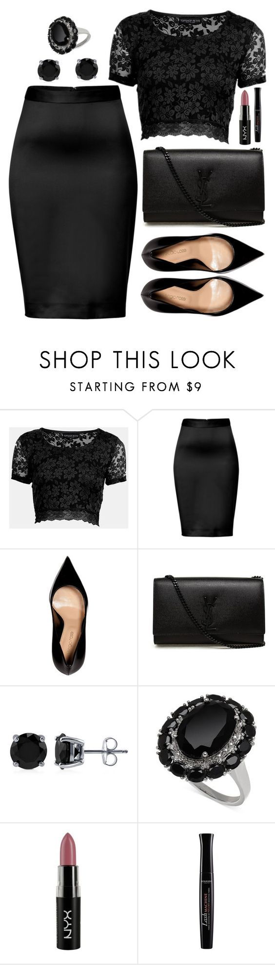 """""""Untitled #3463"""" by natalyasidunova ❤ liked on Polyvore featuring Topshop, Just Cavalli, Sergio Rossi, Yves Saint Laurent, BERRICLE, NYX and Bourjois"""