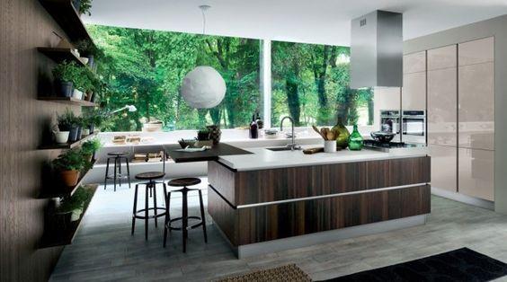 Grande cucina con isola - Cucina grande con isola al centro in legno scuro