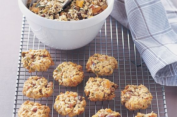 Muesli cookies- 3 cups homemade toasted muesli (see related recipe)  1/2 cup (75g) plain flour  100g butter, melted, cooled  1/3 cup honey  1 egg, lightly beaten