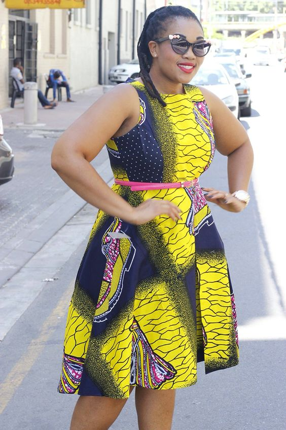 Yellow and black African dress: