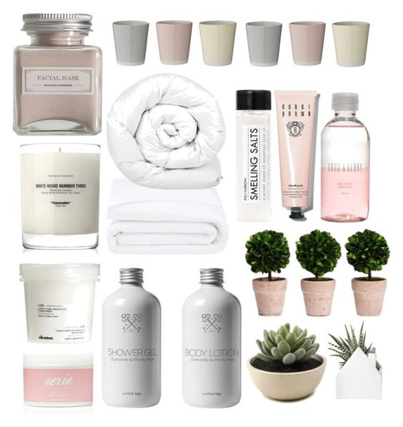 """""""Spa at home"""" by lauracooperrrr on Polyvore featuring Baxter of California, Davines, Aerie, Lord & Berry, Bobbi Brown Cosmetics, Mullein & Sparrow, Fig+Yarrow, Frette, Brinkhaus and Bloomingville"""