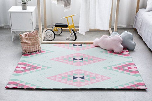 Little Bot Baby Play Mat Non Toxic Odourless And Ultra Cushioned Prismatic And Moroccan Royal Blue 71 Inch X 59 Inch Baby Play Mat Kids Rugs Play Mat