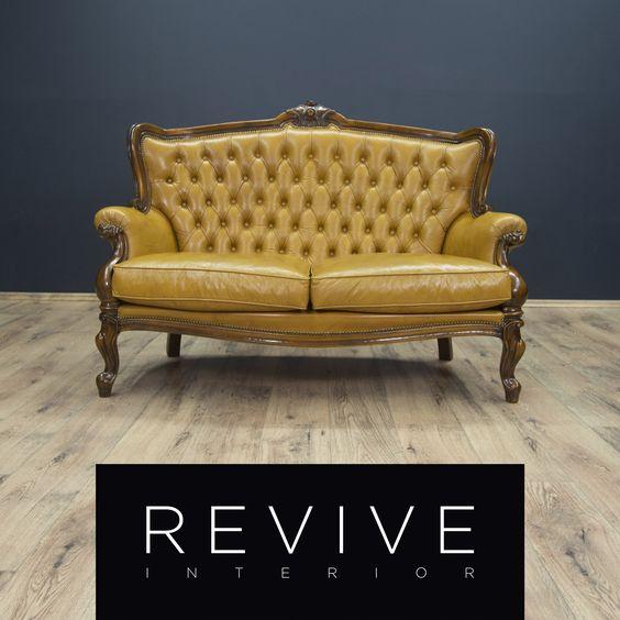 Chesterfield möbel  Chesterfield Leder Couch Orange Gelb Zweisitzer Vintage Echtleder ...