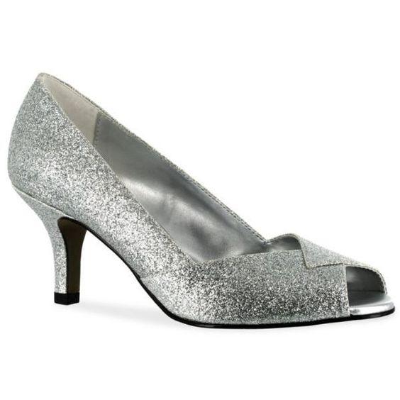 Easy Street Silver Glitter Ravish Peep Toe Evening Shoe - Women's ($60) ❤ liked on Polyvore featuring shoes, flats, silver glitter, bridal shoes, silver flats, bridal shoes flats, silver evening shoes and silver glitter flats