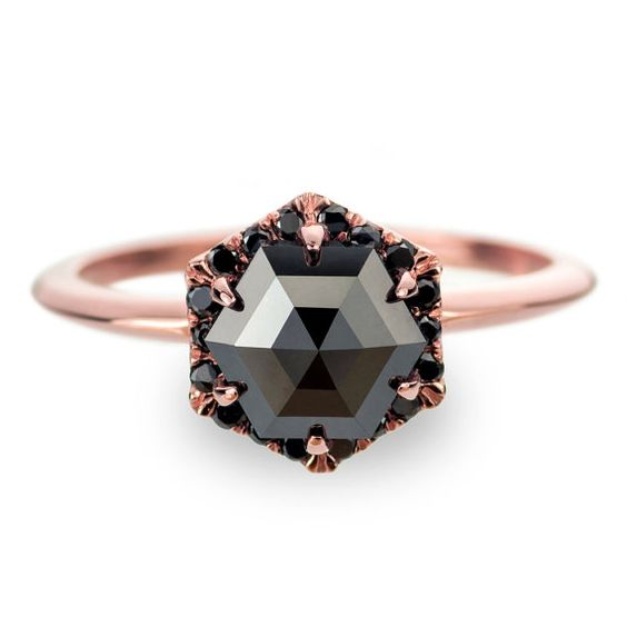 Black diamond engagement ring | Gorgeous non-traditional engagement ring | via http://emmalinebride.com/engagement/non-traditional-engagement-rings/: