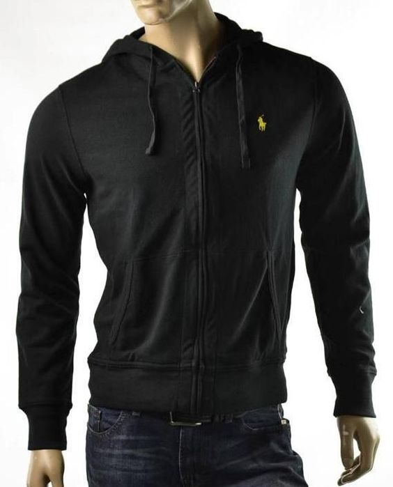 Polo Ralph Lauren Sweater Mens Black L/S Full Zip Knit Hoodie ...