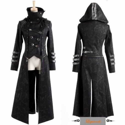 Black Gothic Calvary Hooded Goth Style Jackets and Long Coats