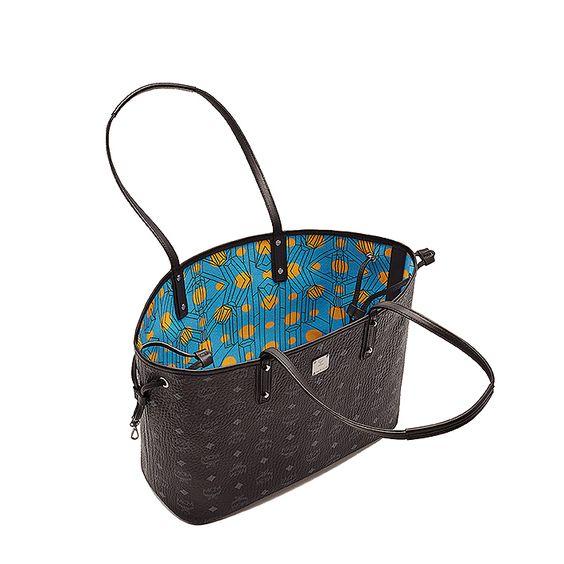 MCM Damen Reversible Shopper Project Visetos Medium Schwarz bei SAILERstyle