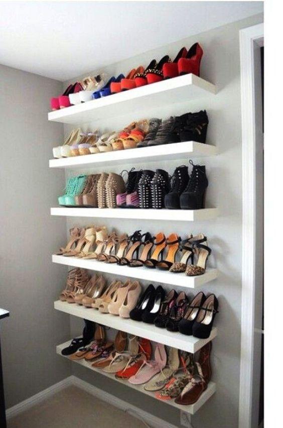 Contoh desain rak sepatu dinding sederhana tuk rumah dan ruang minimalis