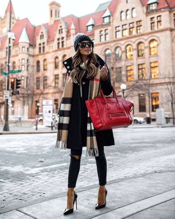 bag,handbag,celine bag,pumps,black skinny jeans,black ripped jeans,burberry,scarf,plaid,black coat,white sweater,turtleneck sweater,black beanie,sunglasses