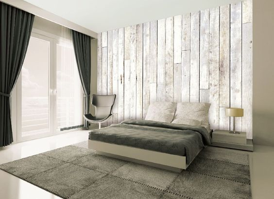 Papier peint trompe l 39 oeil design pas cher tapisserie for Wood wallpaper bedroom