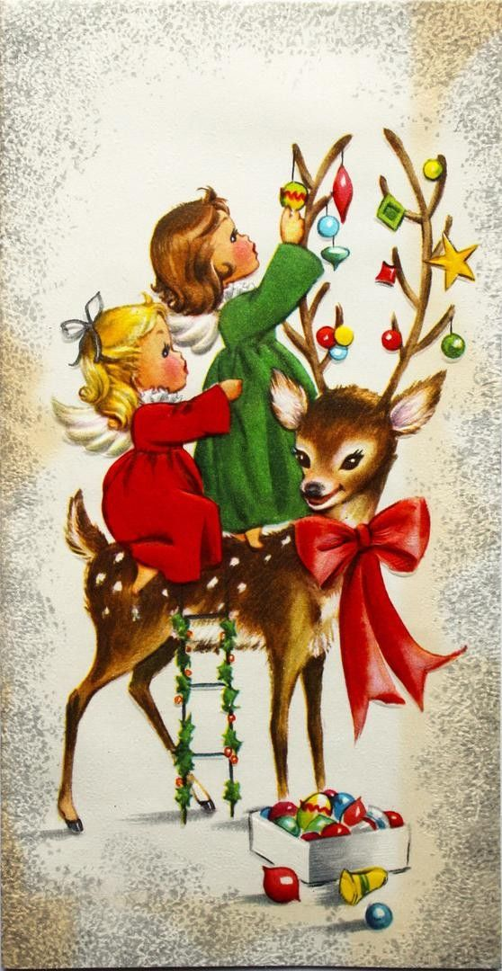 1950's Pretty Little Angels Decorate Sweet Reindeer Tall Vintage Christmas Card | #1735312408