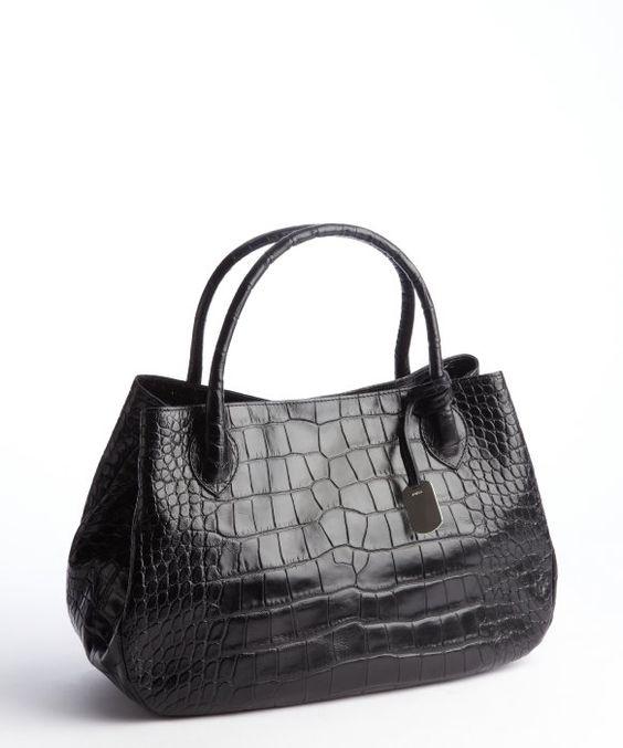 Furla : black croc embossed leather 'New Giselle' top handle bag