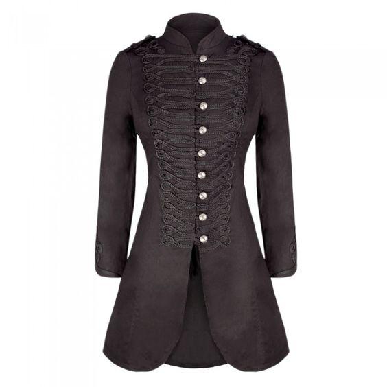 Long Black Military Style Wool Coat