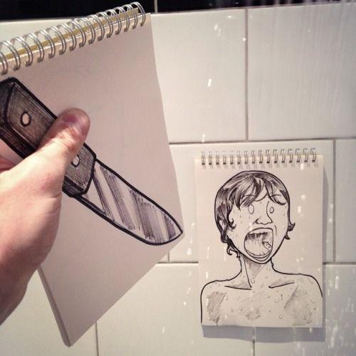 Art - cenas-inesperadas-e-divertidas-montadas-com-desenhos-e-objetos
