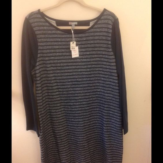 Talbots dress Talbots casual shift dress. T for Talbots activewear line. Long cotton knit sleeves; body is gray/blue textured knit. VERY comfortable and cute. Great for running errands on a Saturday. Talbots Dresses