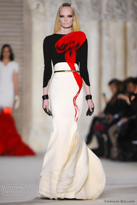 Love the contrast: Fashion Couture, Stéphane Rolland, Stephane Rolland, Couture Spring, Black White Red, Rolland Couture, Haute Couture, Couture Fashion