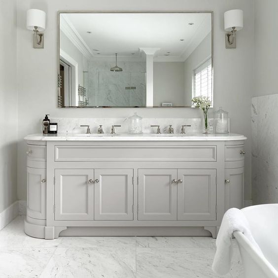 Create The Perfect His And Hers Bathroom With An Elegant Double Basin Vanity Unit Bathro Master Bathroom Vanity White Vanity Bathroom Bathroom Mirror Design