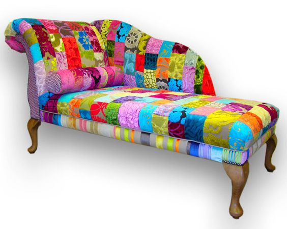 Patchwork chaise longue in designers guild by for Chaise patchwork