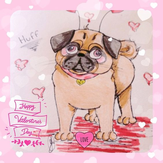 Happy Valentines Day! #art #pug #cute #valentinesday