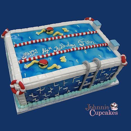 Tremendous Swimming Pool Cake Con Imagenes Cumpleanos Esposo Natacion Personalised Birthday Cards Vishlily Jamesorg
