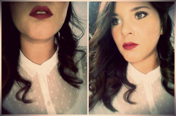 me! red lips, white shirt and wavy hair 2.