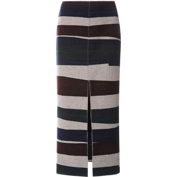 Carven Long Striped Wool Skirt With Split ($275) ❤ liked on Polyvore featuring skirts, long wool skirts, pencil skirt, high rise pencil skirt, long skirts and stripe skirt