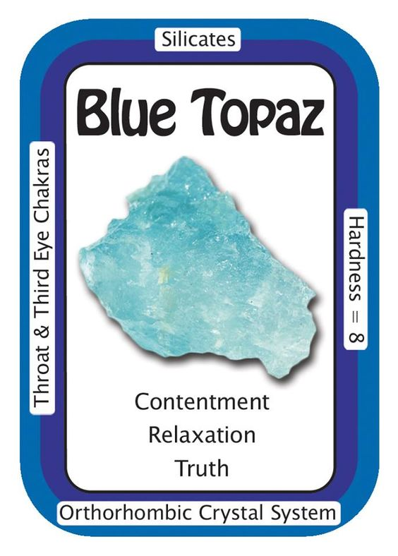 """Blue Topaz, """"I am content in the knowledge that I am protected by the Universe."""" Blue Topaz can help attune to higher realms. Blue Topaz is said to help you recognize your own truth, so you can see if you are indeed on your true path. Use the code HCPIN10 to receive 10% off www.healingcrystals.com/advanced_search_result.php?dropdown=Search+Products...&keywords=blue+topaz www.healingcrystals.com/Crystal_Information_Cards___Oracle_Decks_1__2_and_3.html"""