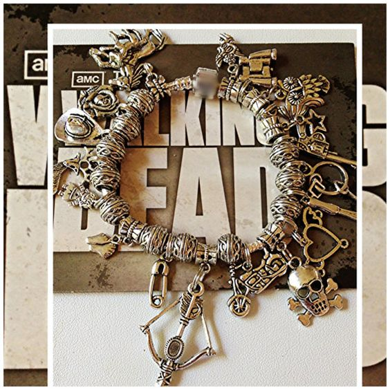 Walking Dead Charm Bracelet Daryl Dixon Limited Edition Fan Jewelry on SP chain with European Snap
