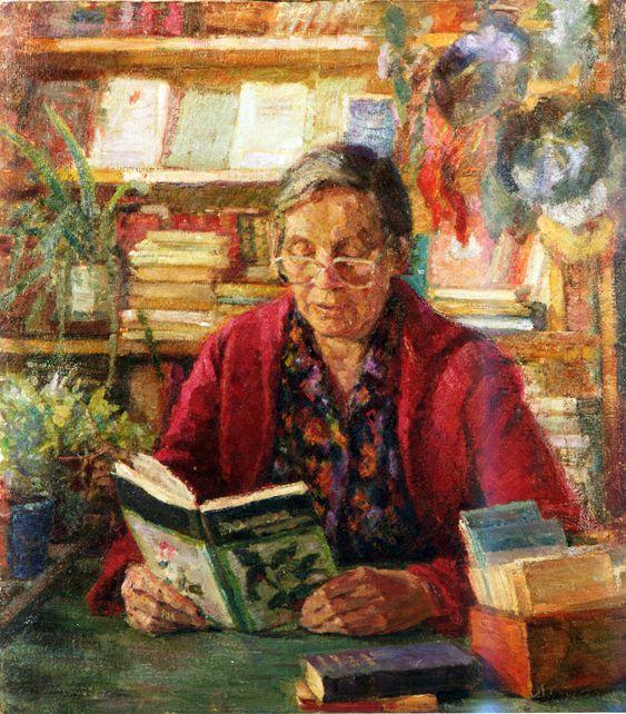"""""""Библиотекарь сельской библитеки."""" 1988 Людмилы Скубко-Карпас"""