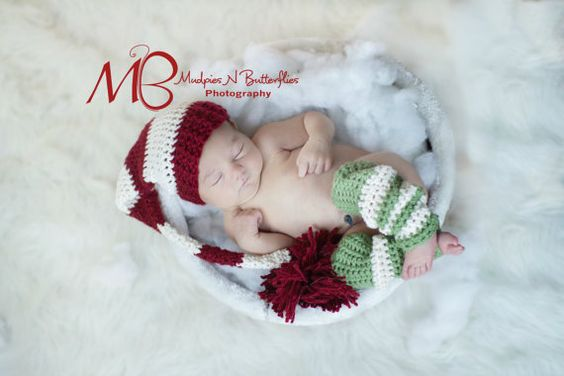 Christmas Crochet Stocking/Elf Hat for Newborn by pitterpatcrochet