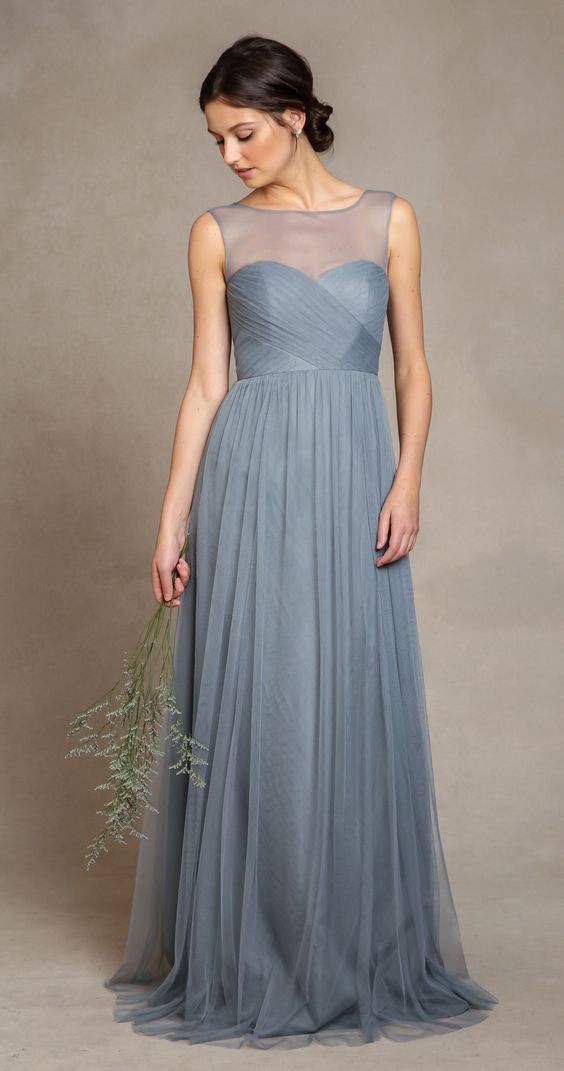 Slate blue bridesmaid dress, illusion neck, elegant.