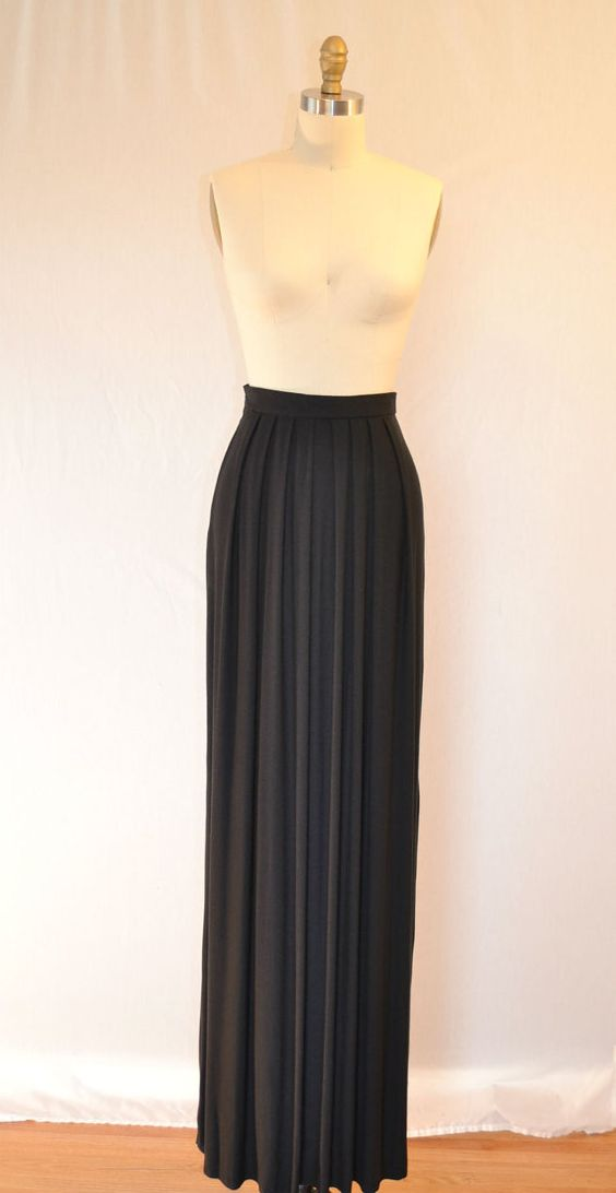 Black Maxi Skirt by TheLittleRack on Etsy